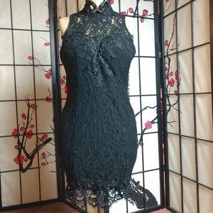Rare London sleeveless lace overlay dress no bra